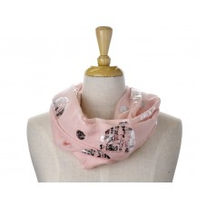 Pink Big/Small Dots Foil Metallic scarf