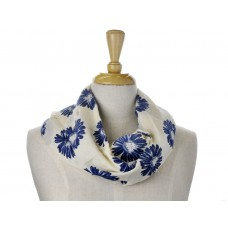 Cream with Navy Daisy Print Scarf