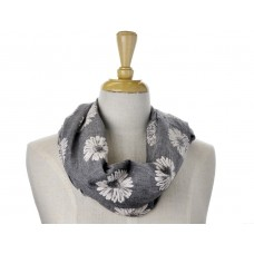 Grey with White Daisy Print Scarf