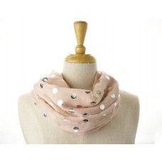 Pink with Silver Metallic Big Dot Scarf