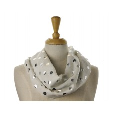 White with Silver Metallic Big Dot Scarf