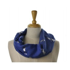Navy with Big Silver Metallic Dragonfly Scarf