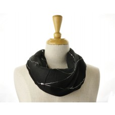 Black with Silver Lines Metallic Scarf