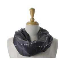 Dark Grey with Silver Lines Metallic Scarf