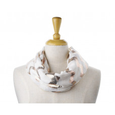 Cream w Rose Gold Metallic Foil Print Zig Zag Scarf