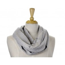 Grey Fabric with Gold Foil Metallic Print Scarf