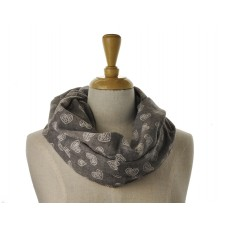 SNOOD/INFINITY - White Heart Brown Scarf