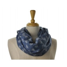 SNOOD/INFINITY -  Light Blue with White Heart Scarf