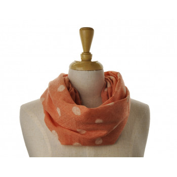 SNOOD/INFINITY - White Dot on Orange Scarf