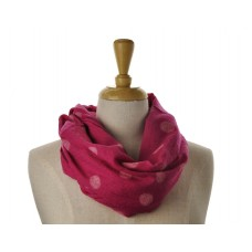 SNOOD/INFINITY - White Dot on Pink Scarf