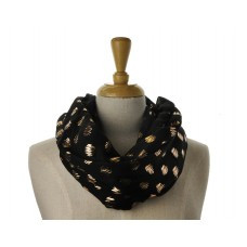 SNOOD/INFINITY SCARF - Black with Rose Gold Metallic Foil Zig Zag Print Scarf