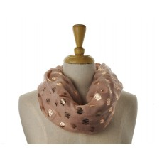 SNOOD/INFINITY SCARF - Blush with Rose Gold Metallic Foil Zig Zag Print Scarf