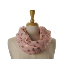 SNOOD/INFINITY SCARF - Pink with Rose Gold Metallic Foil Zig Zag Print Scarf