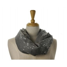 SNOOD/INFINITY SCARF - Dark Grey with Silver Metallic Fleck Scarf