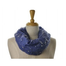 SNOOD/INFINITY SCARF - Blue with Silver Metallic Fleck Scarf