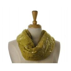 SNOOD/INFINITY SCARF - Yellow with Silver Metallic Fleck Scarf