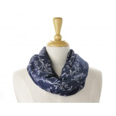 Navy Lots of Leaves Cotton Scarves
