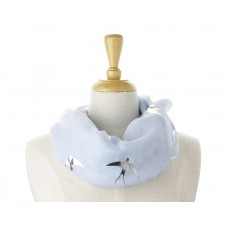 Blue Silver Bird Metallic Scarf