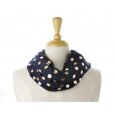 Navy Rose Gold Dot Metallic Scarf