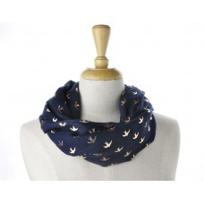 Navy Rose Gold Swallow Metallic Scarf