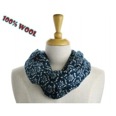 Flower Print Teal Wool Scarf