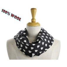 Heart Print Black Wool Scarf