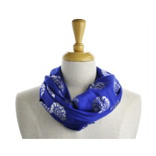 Scroll Print Blue Metallic Scarf