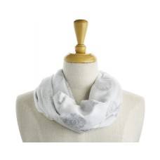 Scroll Print Silver Metallic Scarf
