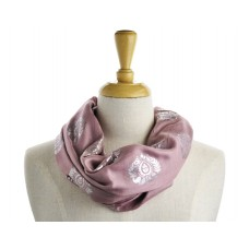 Scroll Print Old Rose Metallic Scarf