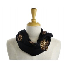 Flower Scroll Black  Metallic Scarf
