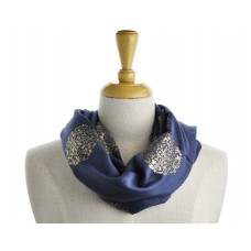 Flower Scroll Dark Grey Metallic Scarf