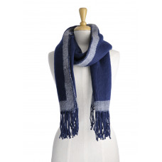 Thick Navy Scarf With Boarder