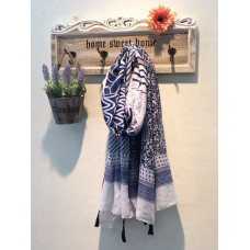 Blue and White Print Scarf