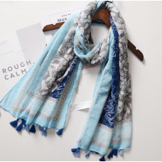 Navy and Blue Print Scarf
