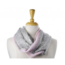 Wool Grey Pink Boarder Scarf