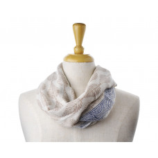 Wool Beige Navy Boarder Scarf