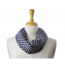 Wool Navy Cream Pattern Scarf