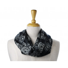 Wool/Cotton Black Flower Scarf