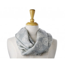 Wool/Cotton Grey Flower Scarf