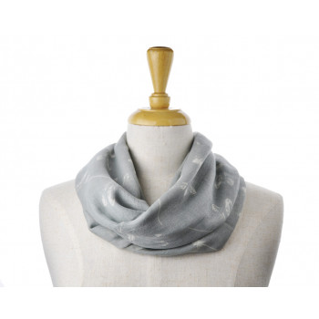 Wool/Cotton Grey Dragonfly Scarf