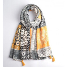 Yellow & Grey Print Tassel Scarf