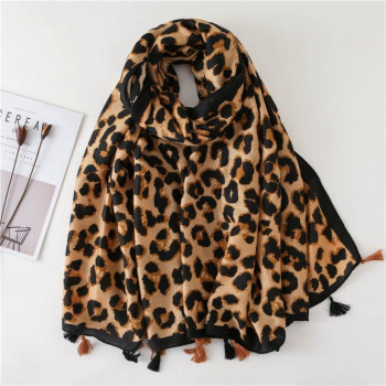 Tan Animal Print Tassel Scarf