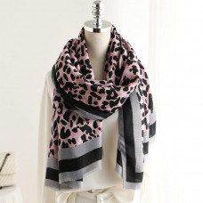 Grey & Pink Animal Stripe Print Scarf