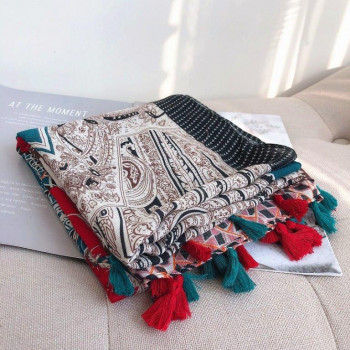 Red & Grey Print Tassel Scarf