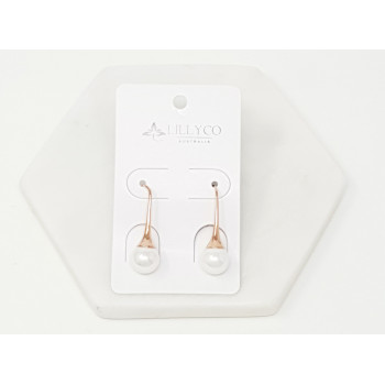 Fine - Rose Gold with Pearl Drop Earring