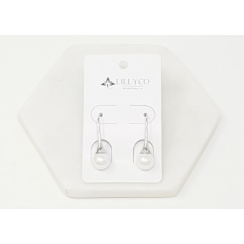 Fine - Silver with Pearl Drop Earring