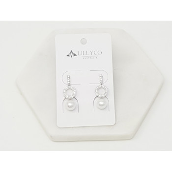 Fine - Silver Crystal  Ring & Drop Pearl Earring