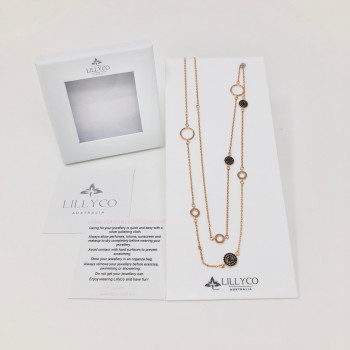 Fine Long  Rose Gold Disc & Ring Necklace