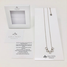 Fine Silver 5 Crystal Necklace