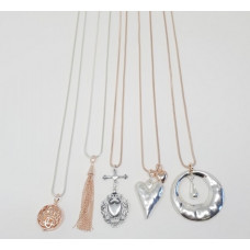 Mixed Rose Gold & Silver Long Necklace Pack - includes 5 assorted necklaces